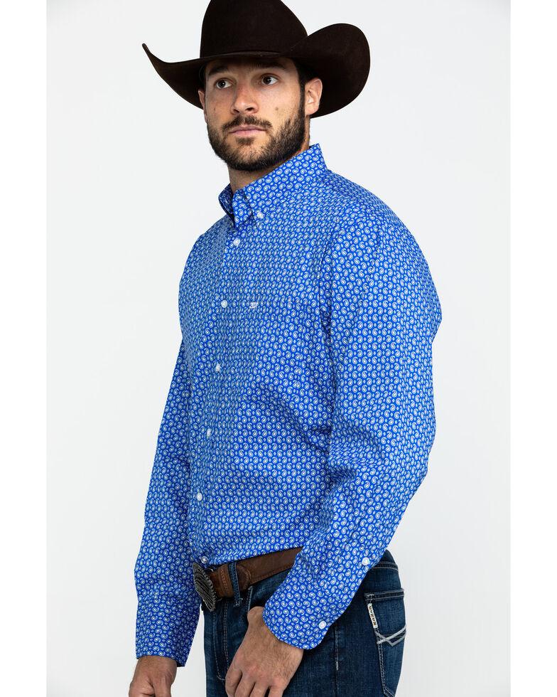 Wrangler 20X Men's Blue Small Paisley Print Long Sleeve Western Shirt , , hi-res