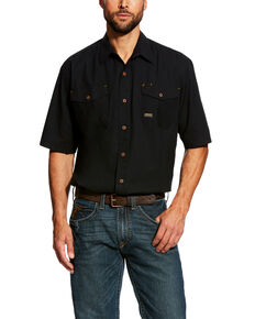 Ariat Men's Black Rebar Made Tough Vent Short Sleeve Work Shirt - Tall , Black, hi-res