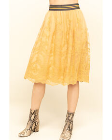 Ariat Women's Mustard Lace Midi Stevie Skirt , Mustard, hi-res