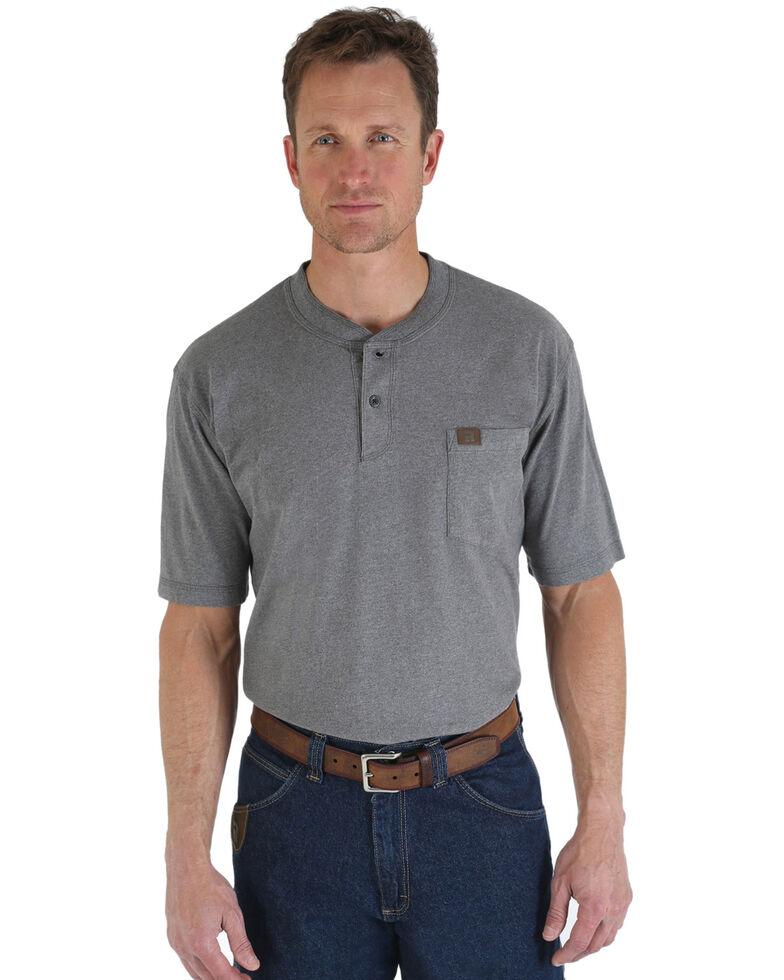 Riggs Workwear Men's Short Sleeve Henley T-Shirt, Charcoal Grey, hi-res