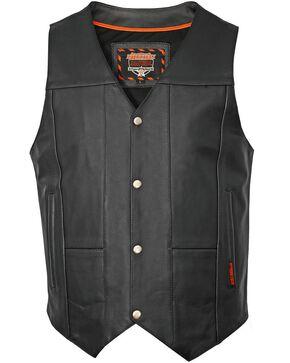Interstate Leather Men's Shooter Motorcycle Vest, Black, hi-res
