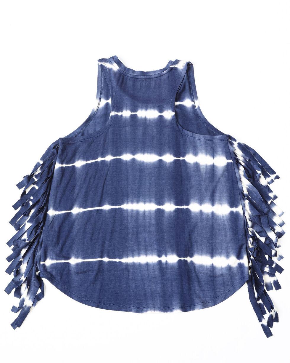 Shyanne Girls' Tie Die Fringe Tank Top , Navy, hi-res