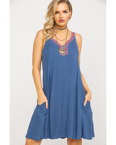 Ariat Women's Indio Embroidered Dress, Blue, hi-res