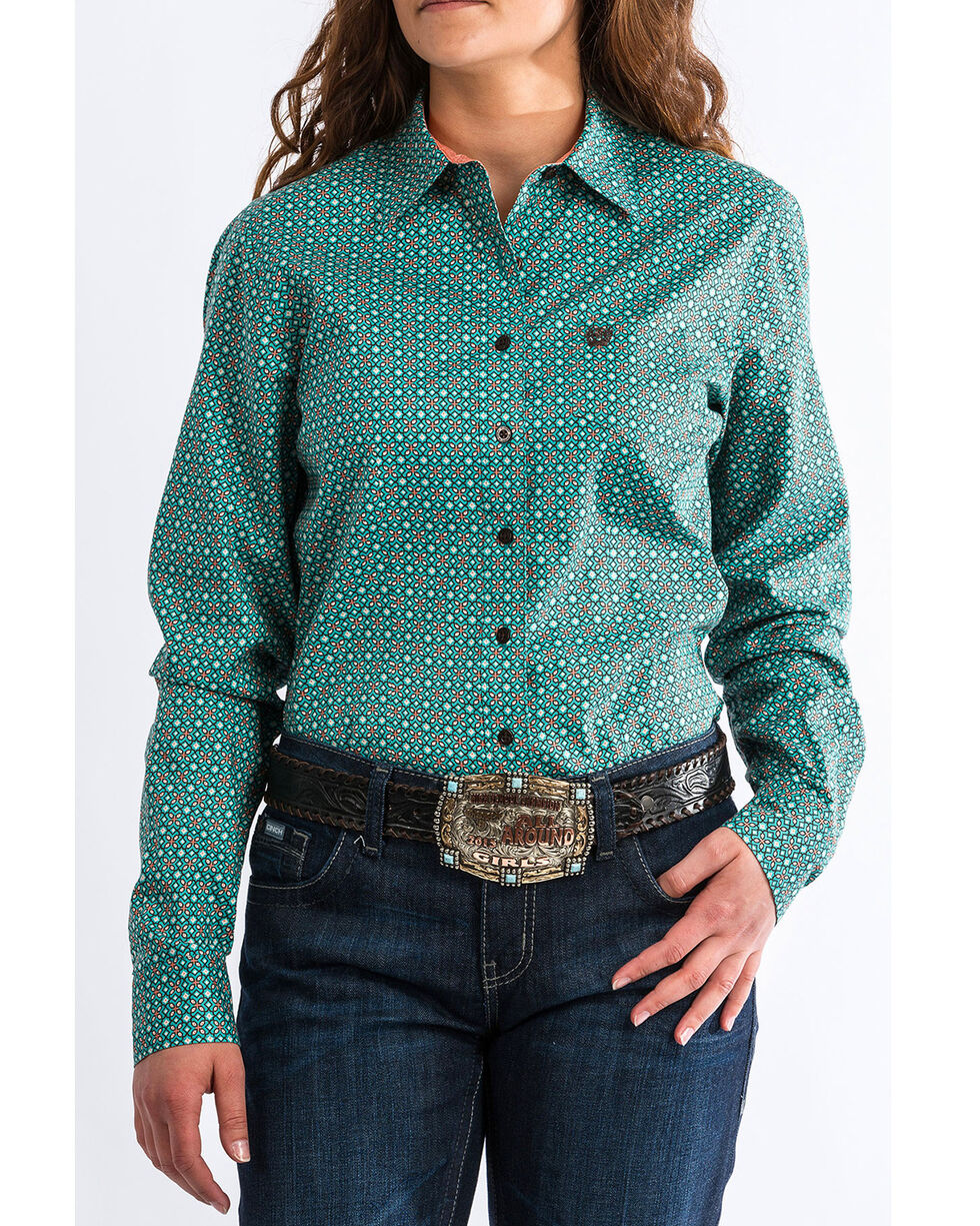 Cinch Women's Western Geo Print Long Sleeve Western Shirt, , hi-res