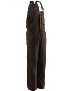 Berne Men's Dark Brown Lined Insulated Bib Overall , Bark, hi-res