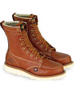 "Thorogood Men's American Heritage 8"" Wedge Work Boots - Steel Toe, Tan, hi-res"