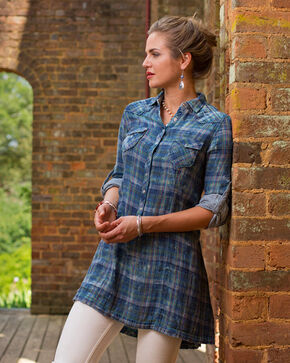 Ryan Michael Women's Fiesta Plaid Tunic, Indigo, hi-res
