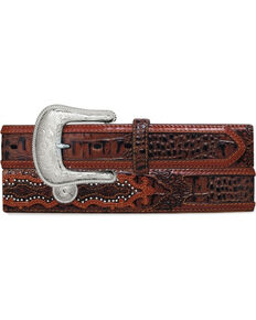 Tony Lama Men's Southern Caiman Underlay Belt, Brown, hi-res