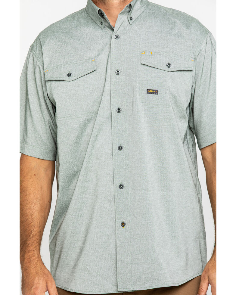 Ariat Men's Olive Rebar Made Tough Durastretch Vent Short Sleeve Work Shirt - Tall , Heather Grey, hi-res
