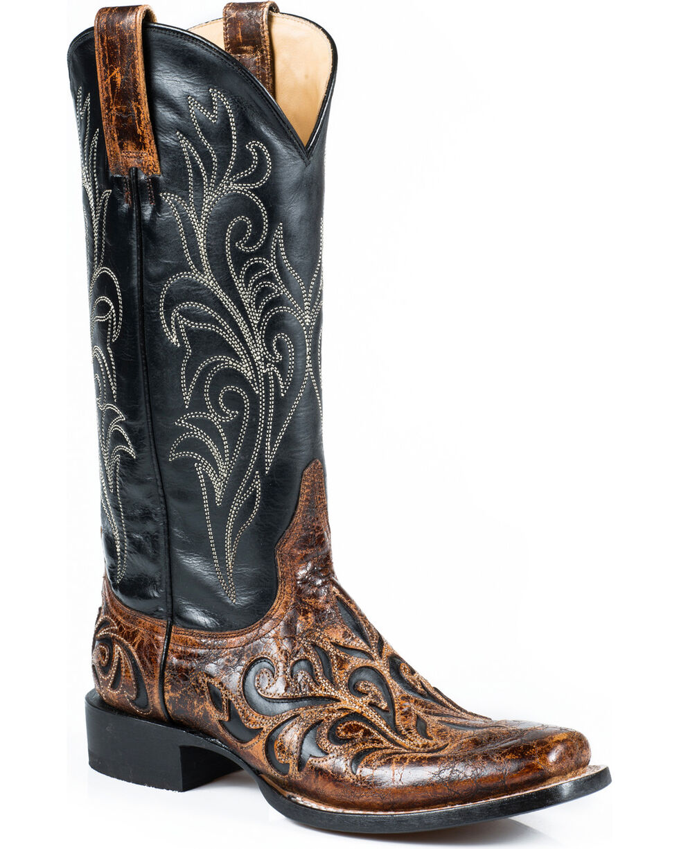 Stetson Women's Caroline Vintage Overlay Leather Western Boots, Brown, hi-res