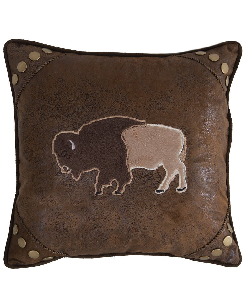 Carstens Home Wrangler Faux Leather Buffalo Throw Pillow , Brown, hi-res