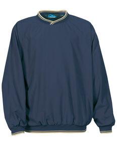 Tri-Mountain Men's Navy & Khaki Atlantic Trimmed Microfiber Wind Work Sweatshirt - Tall, Navy, hi-res