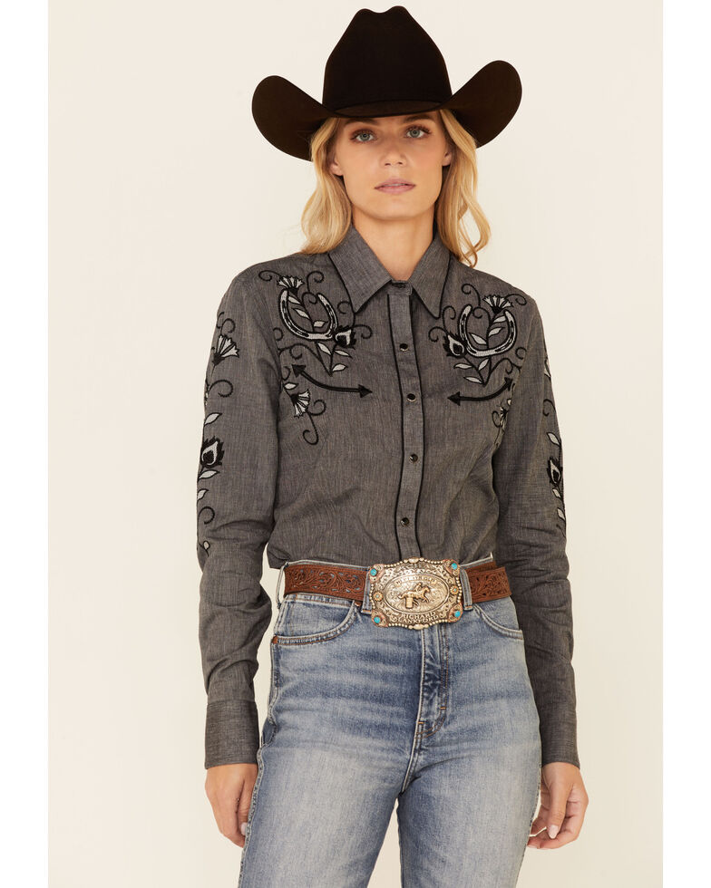 Panhandle Women's Charcoal Micro Oxford Horseshoe Embroidered Long Sleeve Snap Western Core Shirt , Charcoal, hi-res