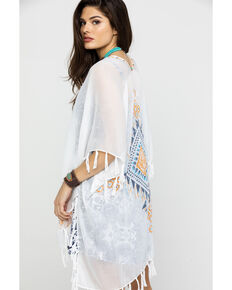 Shyanne Women's Have It Your Way Fringe Shawl, White, hi-res