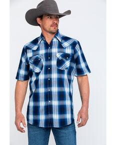 Ely Cattleman Men's Navy Plaid Short Sleeve Western Shirt , Navy, hi-res