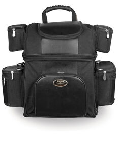 Milwaukee Leather Textile Double Barrel Motorcycle Sissy Bar Bag , Black, hi-res