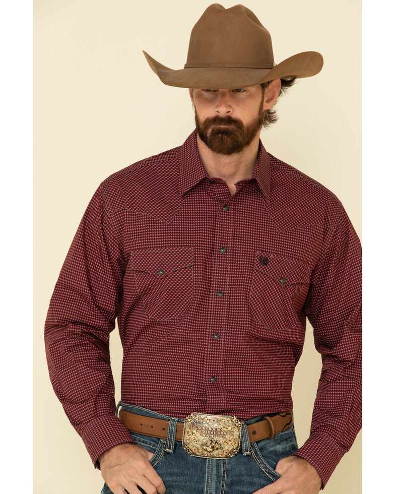 Cinch Men's Burgundy Small Geo Print Snap Long Sleeve Western Shirt , Burgundy, hi-res