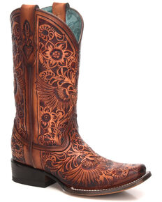 Corral Women's Cognac Heart & Wings Western Boots - Square Toe, Cognac, hi-res