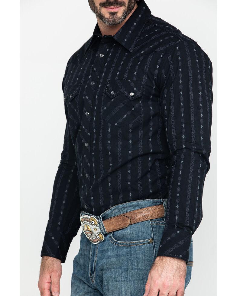 Rock & Roll Cowboy Black Jacquard Striped Geo Print Long Sleeve Western Shirt , Black, hi-res
