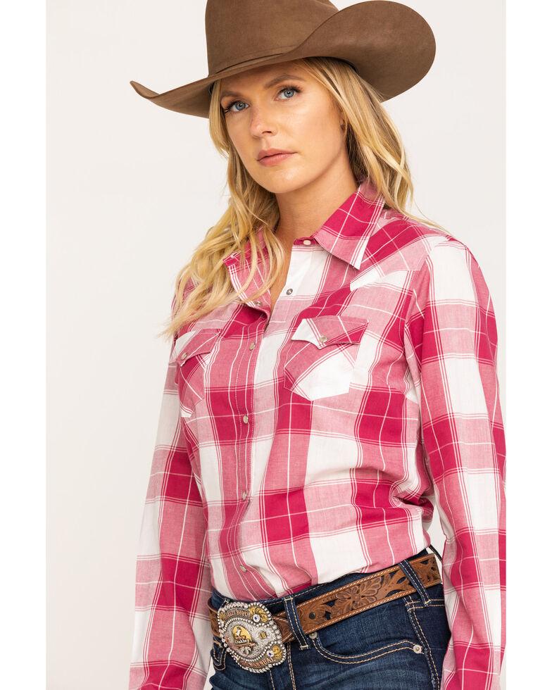 Wrangler Women's Burgundy Plaid Long Sleeve Western Shirt, Burgundy, hi-res