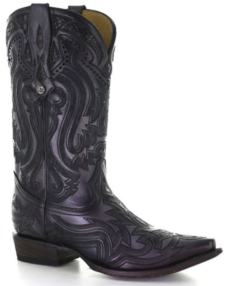Corral Men's Exotic Python Skin Inlay Western Boots - Snip Toe, Black, hi-res