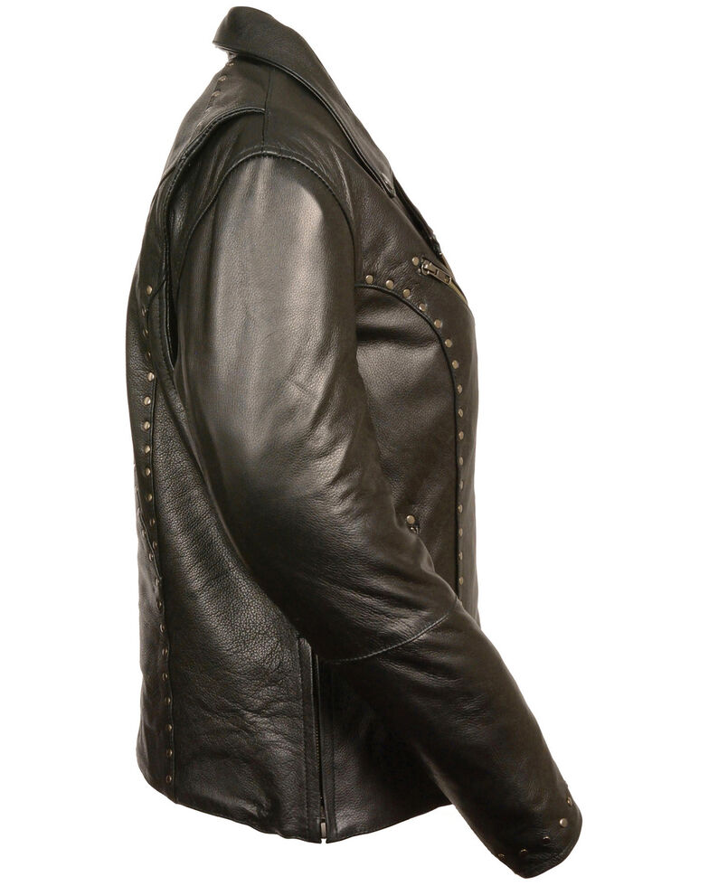 Milwaukee Leather Women's Classic Studded Motorcycle Leather Jacket - 3X, Black, hi-res