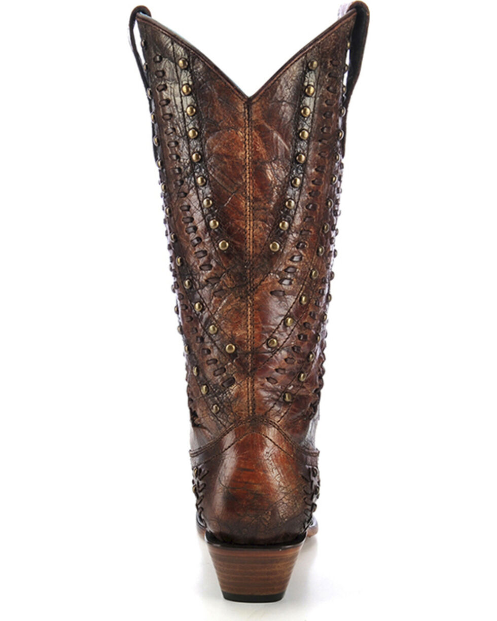 Corral Women's Leather Stitched Western Boots, Cognac, hi-res