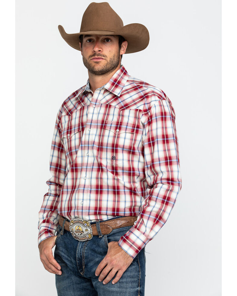 Roper Men's Red Amarillo Vintage Plaid Long Sleeve Western Shirt , Red, hi-res