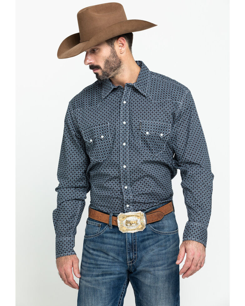 Cinch Men's Modern Fit Multi Small Geo Print Snap Long Sleeve Western Shirt , Multi, hi-res