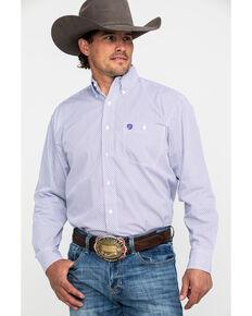 George Strait by Wrangler Men's Multi Geo Button Long Sleeve Western Shirt , Purple, hi-res