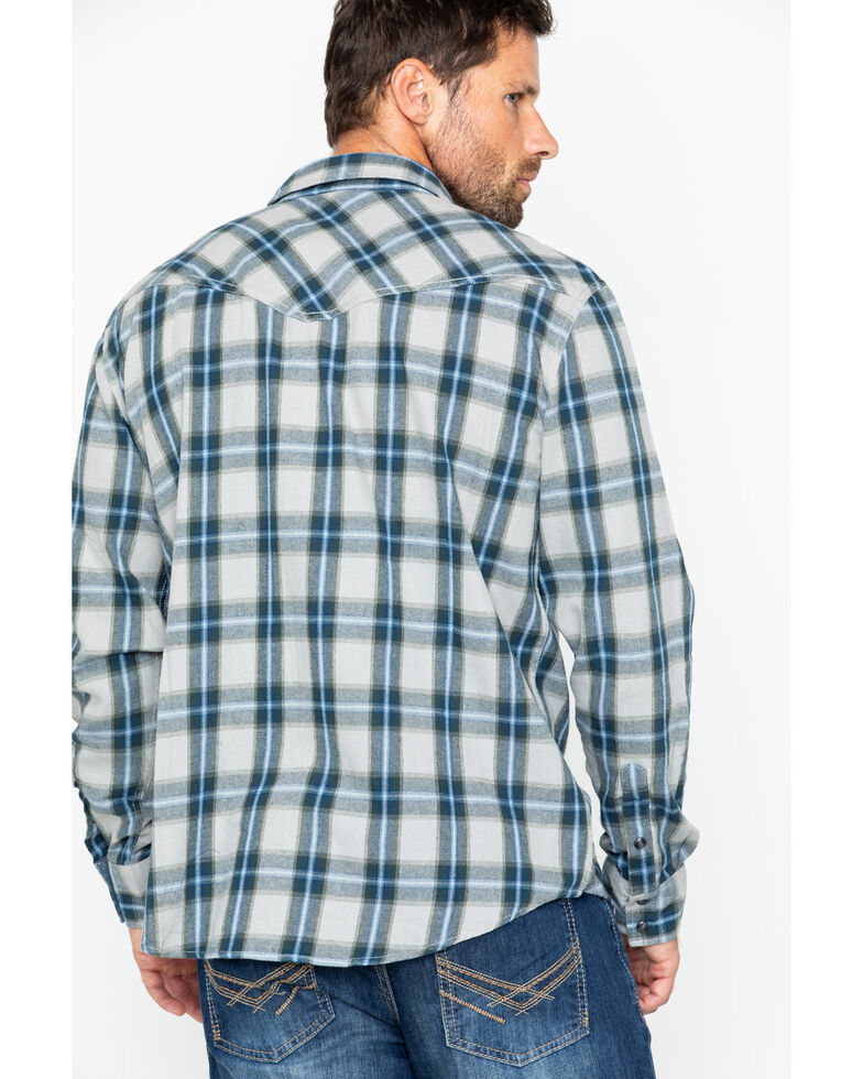 Cody James Men's Kethican Plaid Long Sleeve Western Flannel Shirt , Grey, hi-res