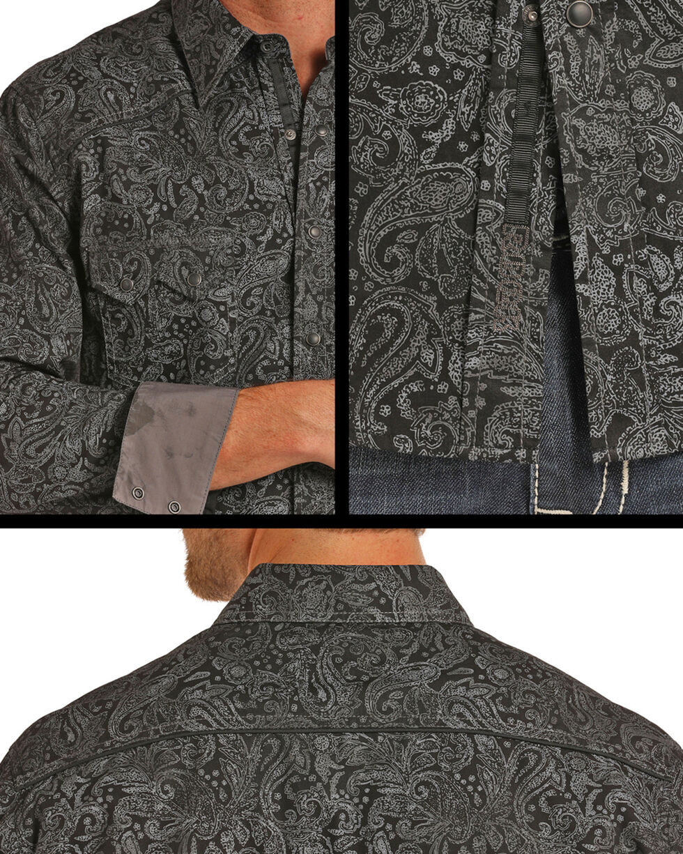 Rock & Roll Cowboy Men's Black Spray Washed Paisley Print Long Sleeve Snap Shirt, Black, hi-res