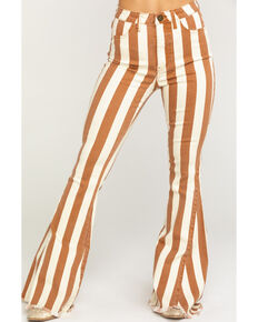 Show Me Your Mumu Women's Cognac Stripe Berkeley Zip Up Bell Jeans, Cognac, hi-res