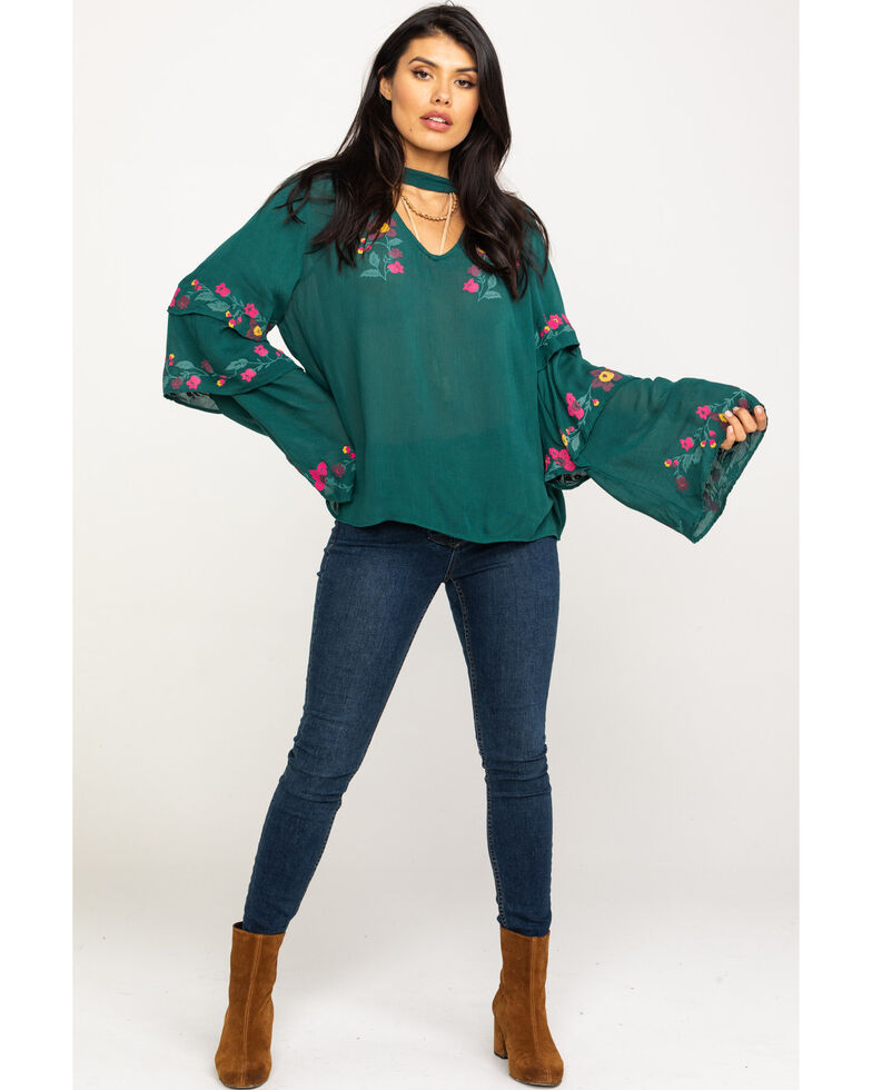 Rock & Roll Cowgirl Women's Pine Tiered Floral Embroidered Top, Tan, hi-res