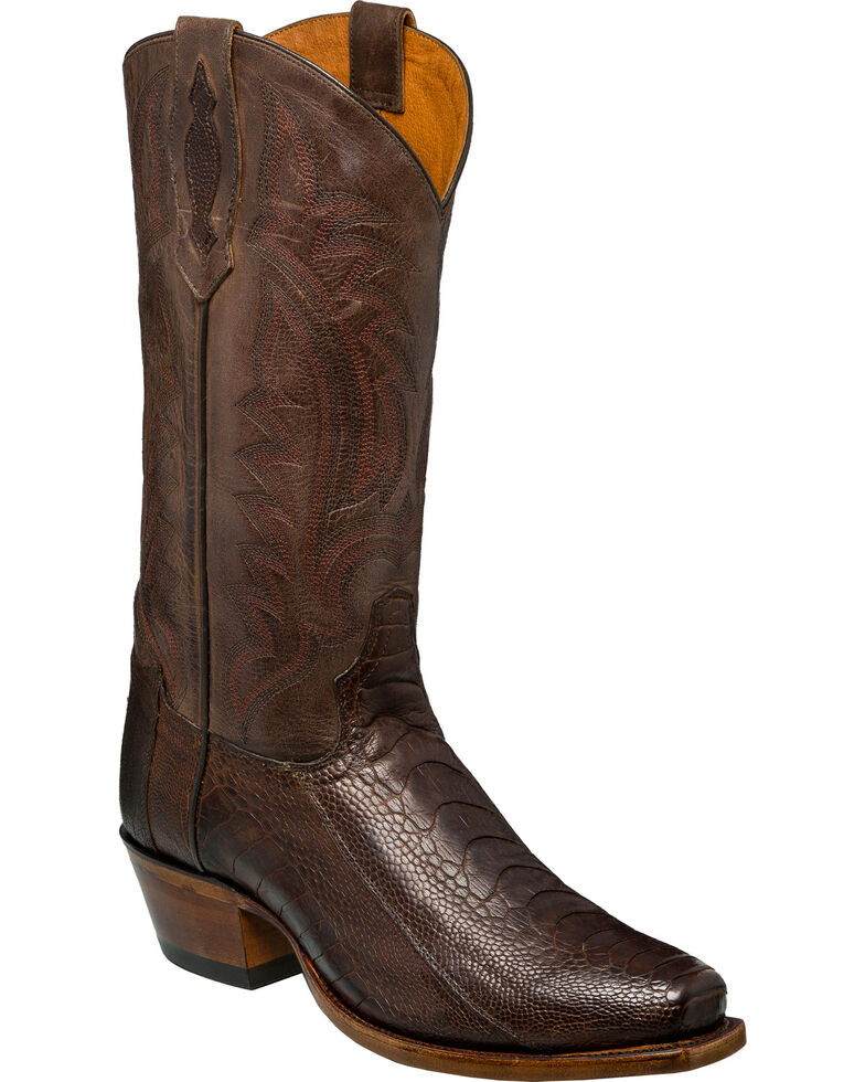 Tony Lama Men's Chocolate Oiled Ostrich Leg Cowboy Boots - Square Toe, Chocolate, hi-res