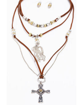 Shyanne Women's 2-Tone Multi Strand Cross Necklace Set, Silver, hi-res