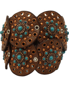 Nocona Women's Wide Disk Conchos Floral Belt , Brown, hi-res