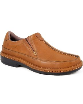 Roper Men's Moc Toe Casual Slip-Ons, Tan, hi-res