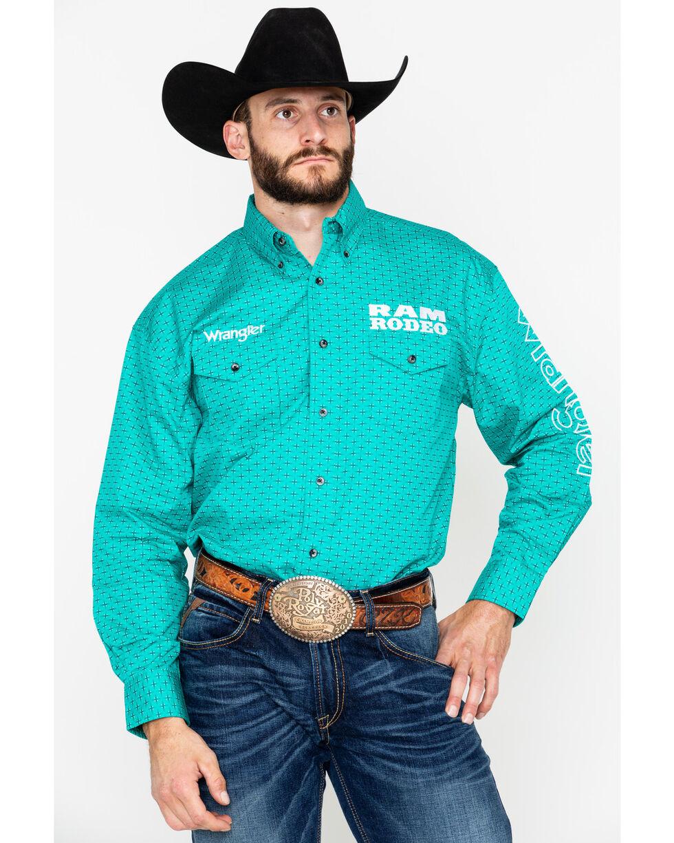 Wrangler Men's Ram Rodeo Logo Long Sleeve Western Shirt, Teal, hi-res