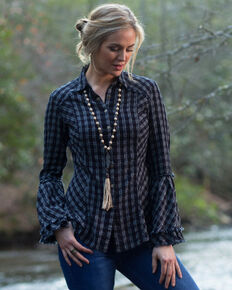 Ryan Michael Women's Embroidered Tiered Sleeve Plaid Western Shirt , Brown, hi-res