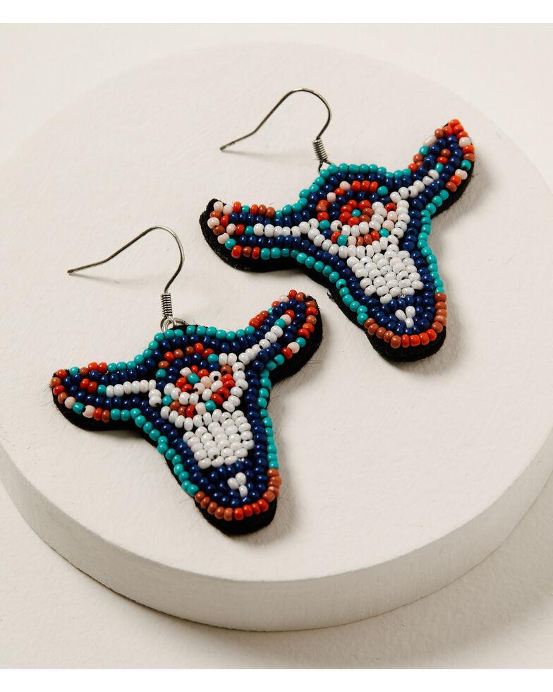 Shyanne Women's Wild Soul Beaded Longhorn Earrings, Silver, hi-res
