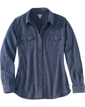 Carhartt Women's Rugged Flex Hamilton Flannel Work Shirt , Slate, hi-res