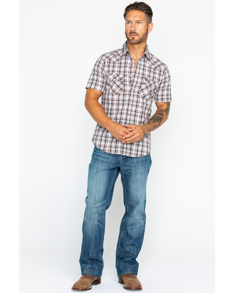 Wrangler Retro Men's Plaid Short Sleeve Western Shirt , Tan, hi-res