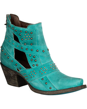 Lane Women's Turquoise Studs & Straps Fashion Booties - Snip Toe , Turquoise, hi-res