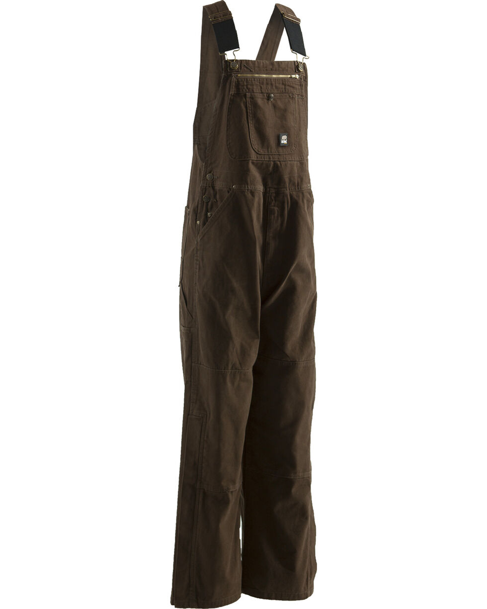 Berne Men's Unlined Washed Duck Bib Overalls - Big/Short (30), Bark, hi-res