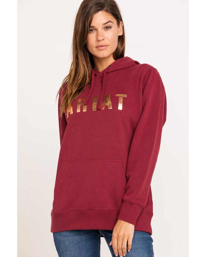 Ariat Women's Cabernet Rose Gold Logo Hoodie, Wine, hi-res