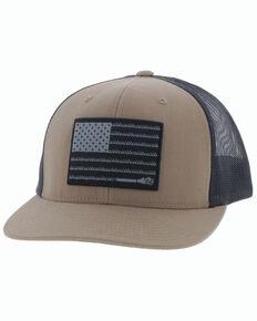 HOOey Men's Tan Liberty Roper Flag Patch Mesh Ball Cap , Tan, hi-res
