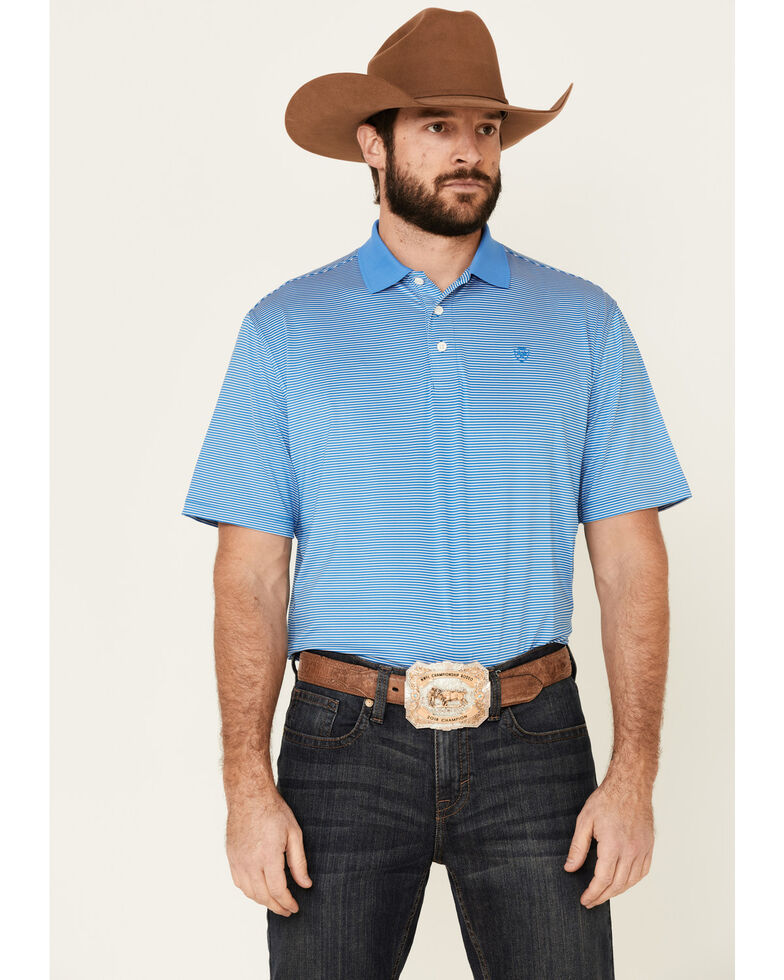 Ariat Men's Blue Micro Stripe Short Sleeve Polo Shirt , Blue, hi-res