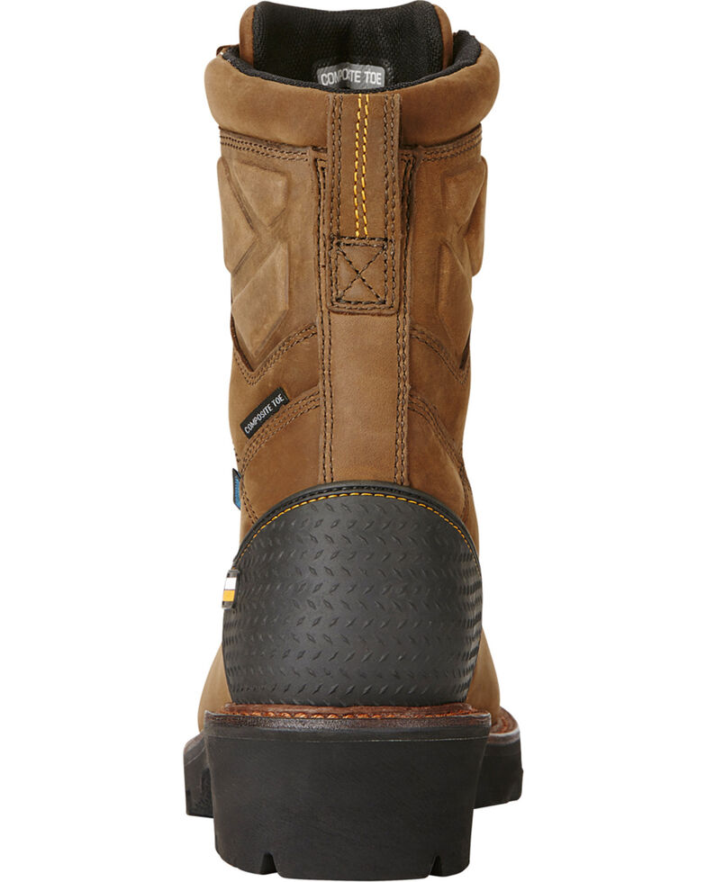 Ariat Men's Powerline Comp Toe Work Boots, Brown, hi-res