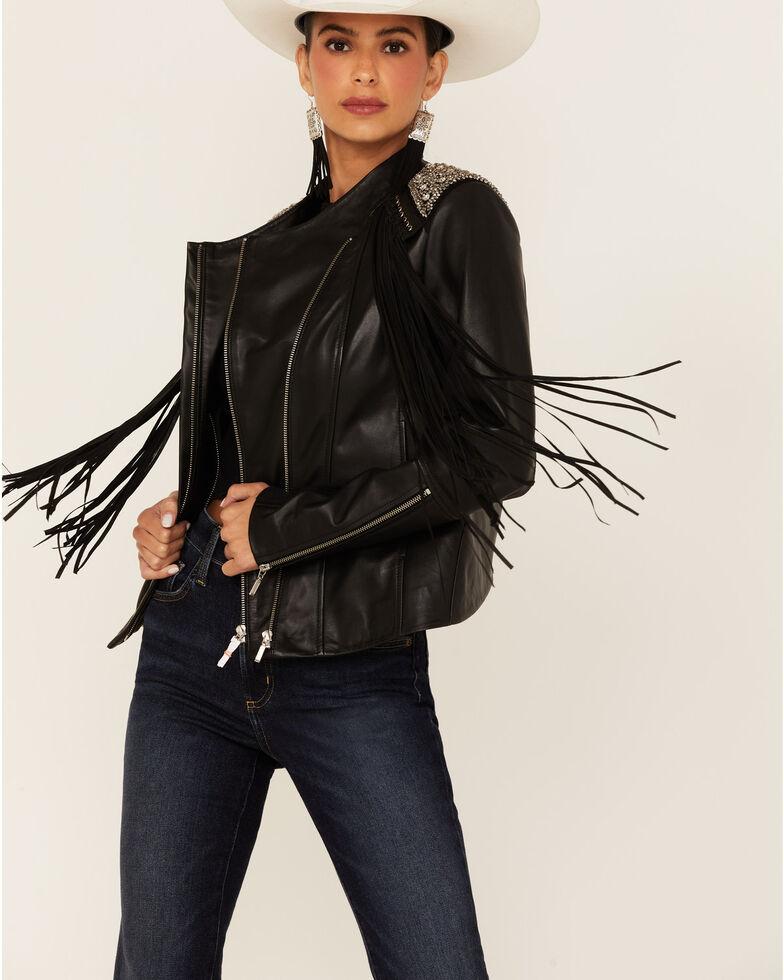 Scully Women's Black Lamb Studded Zip-Front Fringe Leather Jacket , Black, hi-res